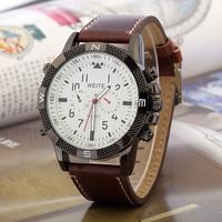 Men's Sports Watch Alloy case WEITE Quartz watches pu Leather Strap Military Watches Analog Wristwatches