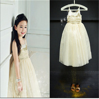 Hot sales New2014 Girls Dress Fashion Summer Sequins Republic Korea Brand Gauze Sleeveless Camisole Princess Dress 5pcs/lot