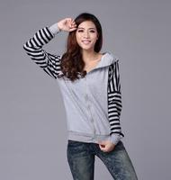 2014 winter women's jacket hooded Fashion autumn Gray  hoodies casual stripe slim sweatshirt outerwear coat for women