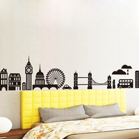 1 Set 220*36cm(87*14inches) Black City Landscape Vinyl Wall Decals For Living Room/Removable Wall Stickers Home Decor Sofa Back