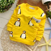 girls boys spring wear animal penguin children sweatshirts hoodies European style KT217R