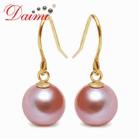 DHL Free Shipping Women 8-9mm Freshwater Pearl Water Drop Dangle Drop Earrings Hook White Pink Color