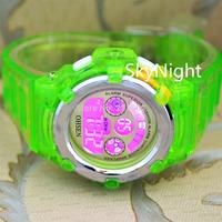 2014 New  Fashion OHSEN Mens Women Waterproof Watch Crystal Green Color Sport Digital 7 Color Light Sport Watch Lemon  Green