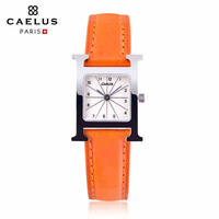 Kelos steel waterproof Ladies Leather Quartz Watch ultrathin H rectangular fashion watches the female