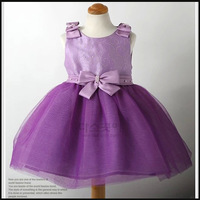 Children clothing 2-5 years old , retail, hot sale , good quanlity girls fashion vest sleeves purple bowknot princess dress