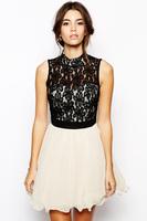 Summer 2014 New High Fashion Elegant Vestidos High Neck Lace Prom Fresh Chiffon Dresses LC21599
