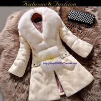 2014 new  women's full leather rabbit fur coat medium-long  fox fur collar overcoat