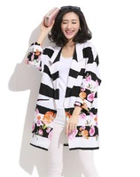 Loose Plus Size Stripe Roses Printed Turn-down Long Sleeve Long Jackets Cardigan Autumn Fashion Personality Coat female BF Style