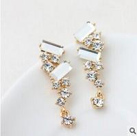 2014 New High Quality Czech Diamond Long Earrings Crystal Drop Earrings For Women Fashion Jewelry
