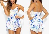 2014 New Women Fashion Sleeveless Playsuit  Flower Jumpsuit Ladies Romper Free Shipping #J033
