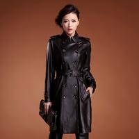 Free shipping  2014 autumn long design slim trench sheepskin female genuine leather clothing