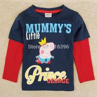 Retail One Pcs! Free Shipping 2014 New Fashion Kids Clothes Baby Peppa Pig Clothing Girls Cartoon Striped T Shirt
