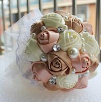 100% Hand Made Artificial Pearl beaded Brooch Silk Rose Flower bride Bridal wedding bouquet Gift Flowers Accept  Custom Make