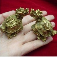 1 pair carved trad copper Dragon Turtle Statues