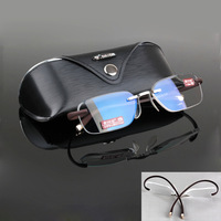 High Quality TR90 Rimless Flexible Anti-radiation Coffee Eyeglasses Reading glasses with case Reader +1 +150 +2 +250 +3 +350 +4