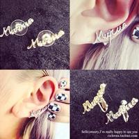 Xmas gift MURUA fashion personality letters earrings Harajuku earring Gold Silver New women 24pair/lot