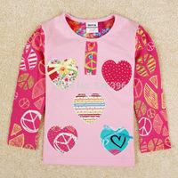 NEAT new 2014 baby girls t shirt children T-shirts flower cartoon long sleeve lace clothing kids wear