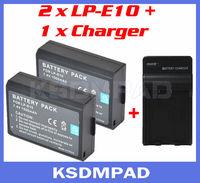 2 pcs digital DLSR batterie + battery akku charger 1100 mAh LP-E10 LP E10 for Canon EOS 1100D Rebel T3 Kiss X50 Digital Camera