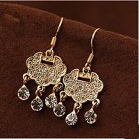 2014 New Ethnic Rhinestone Pendant Earrings For Women Beauty Drop Earrings