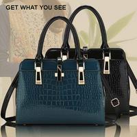 2014 New Fashion Noble Lady Pearl Shiny PU Women Leather Handbag Lady Tote Handbag Messenger Bags free shipping