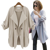 spring summer new loose thin trench for women beige trench coat/one button duster coat overcoat/trench desigual abrigo mujer/WtL