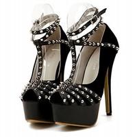 Autumn 2014 overbreak in Europe and America.Punk rivet decoration 14 cm high heels,35-40,shoes woman,women pumps,wedding shoes