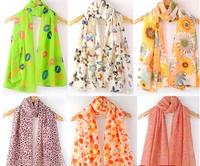 Scarf Women 2014 Velvet Chiffon Flower&Leopard Print Scarves Female Winter Silk Scarf Cape Shawl Muffler Multicolor