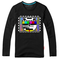 Double Cotton Content! The Big Bang Theory Long Sleeve T-shirt, TV Test Card, CBS Tees, Free Shipping