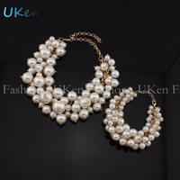 2014 New Big Wide Style Gold Chain Thick Pearl Women Charm Bracelets Cuff Bangle Statement Jewelry Free Shipping UB177