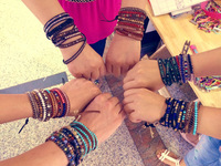 Fashion popular beads gem crystal beads multi-layer cowhide rope bracelet female birthday gift