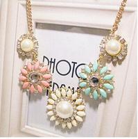 Candy Flower Pearl Resin Gem Shourouk Bib Collar Choker Statement Necklaces & Pendants 2014 New Fashion Jewelry Gift Women N38