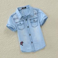 2014 children's clothing gv ess shirt for child male child 100% short-sleeve cotton short-sleeve casual shirt