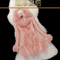 Free shipping 2014 genuine leather sheepskin down clothing female medium-long slim outerwear fox fur