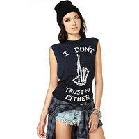 S-XXL New 2014 Plus Size Punk T Shirts Fashion Women Clothing Letter Skull Finger Print T Shirt Cotton Casual Long T-shirts