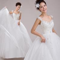2014 flower spaghetti straps sweet princess wedding dress