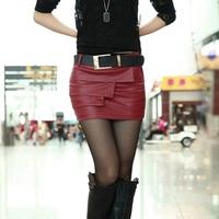 fashion saias femininas 2014 new sexy leather skirt saias rodadas short leather skirt women pencil skirt PU culottes with belt
