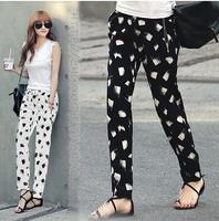 S-XXL 2014 new skinny pants european style Brand Women Chiffon Harem Pants Floral Print sport Pantalones lulu disco Trousers