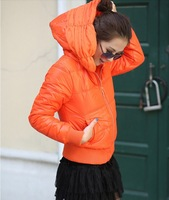 2014 new women's winter drilling hot embroidered chiffon short paragraph Slim Down hooded coat jacket  A9218