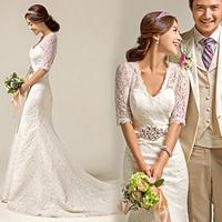 2014 new fashion Korean lace V-neck fishtail wedding dress