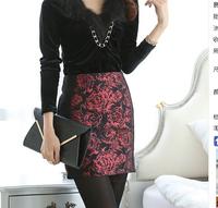 autumn Sexy Slim Pencil Skirts Women Knee-Length Saias Femininas vintage High Waist Floral Embroidery Skirt New 2014 saia midi
