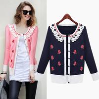 2014 new casacos femininos Flower Printed Jacket Women European&American Embroidered Flowers Jackets cardigans Women Casual Coat