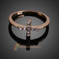 R1B1 Elegant CZ Diamond Inlaid Cross Finger Ring for Woman Golden