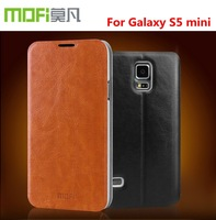 4 Color,100% Original Mofi High quality Leather Case For Samsung Galaxy S5 mini with steel plate inside