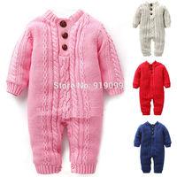 3pcs/lot (0-1T) Wholesale Children brand jumpsuits Cotton Knit rompers newborn kids overalls Thick fleece winter warm one piece