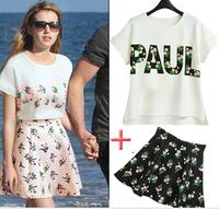 2014 new women's suits dress set  PAUL letters printed T shirt skirts piece