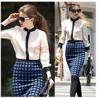 Retail!! 2014 new European and American street shooting star stitching chiffon blouse long-sleeved women shirt free shipping