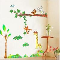"""Free Shipping 79""""x59"""" Wall Sticker 1set =2pcs=TC2096+TC2001 Animal Daycare Decor Giraffe Monkey"""