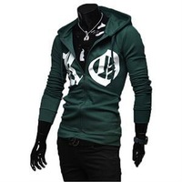 2014 Fashion New Men's Letters Printed Polyester Zipper Hoodies Spring Men Clothing  3 Colors