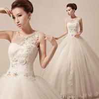 2014 diamond decoration lace wedding dress high waist