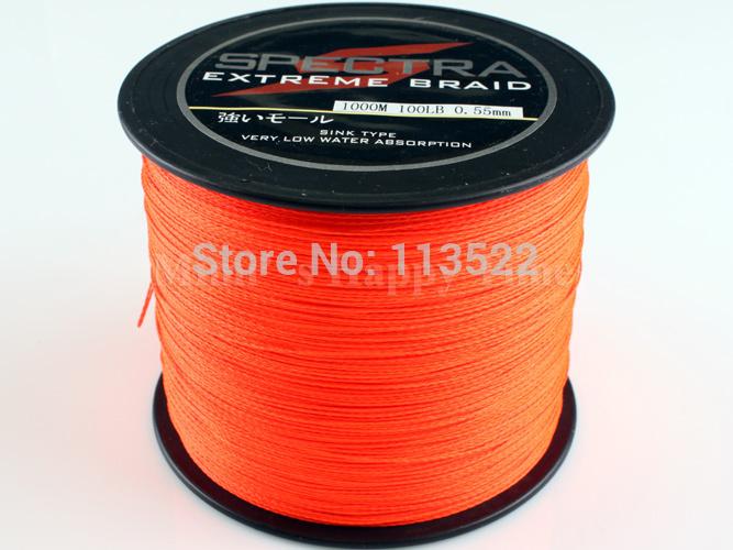 Free shipping! 2014 new Spectra 500M Orange fishing line 20LB 0.20mm 4 strands PE Sea Water Braided Fishing Line(China (Mainland))